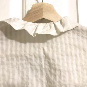 Banana Republic Tops - BANANA REPUBLIC Shadow Stripe Ruffle-Neck Shirt